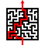 Maze with red arrow. Red arrow going through the maze. path across a labyrinth Royalty Free Illustration