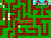 Maze, retro style game pixelated graphics Royalty Free Stock Image