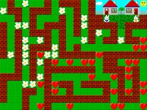 Maze, retro style game pixelated graphics vector illustration