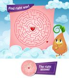 Maze right way hearts. Maze  game. Educational children game. Find right way Royalty Free Stock Image