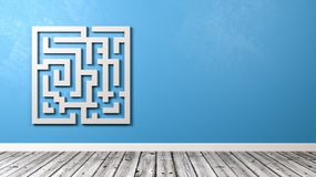 Maze in the Room with Copy Space. White Maze Shape Against Blue Wall in the Room with Copy Space 3D Illustration royalty free illustration