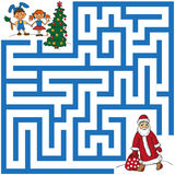 Maze of Santa Claus and Christmas tree Stock Images