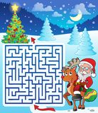 Maze 3 with Santa Claus and deer Royalty Free Stock Photo