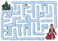 Maze Santa Claus et nouvelle année Photo stock