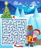 Maze 3 with Santa Claus and gifts Royalty Free Stock Photography