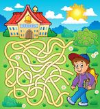 Maze 4 with schoolboy. Eps10 vector illustration Royalty Free Stock Photo