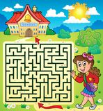 Maze 3 with schoolgirl. Eps10 vector illustration Royalty Free Stock Photo