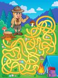 Maze 1 with scout boy Royalty Free Stock Images