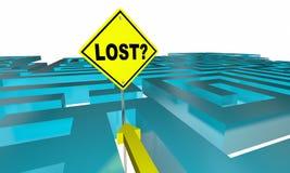 Maze Sign Find Way Out perso Illustrazione di Stock