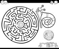 Maze with snail for coloring. Cartoon Illustration of Education Maze or Labyrinth Game for Children with Snail Character Coloring Page Royalty Free Stock Image
