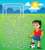 Maze 5 with soccer player. Eps10 vector illustration Stock Photography