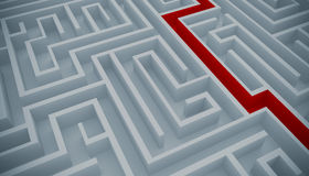 Maze solution. Maze with a red path to solution Stock Image