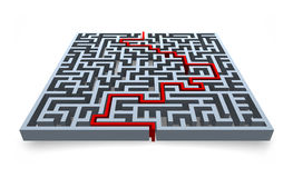 Maze and solution. A maze and its solution Royalty Free Stock Photos