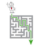 The maze and the solution. Joe has a solution. he wants to get through the maze vector illustration