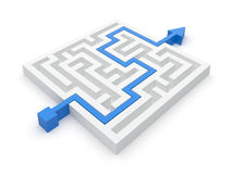 Maze Solution. Maze puzzle wise strategy. Puzzle solved by blue arrow Royalty Free Stock Photo