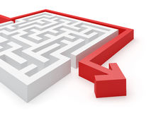 Maze Solution. Maze puzzle wise strategy. Puzzle solved by red arrow Royalty Free Stock Photos