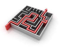Maze Solution. Three dimensional illustration of Maze with Solution Path Royalty Free Stock Image