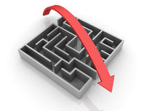 Maze Solution. Three dimensional illustration of Maze and red Arrow Stock Photos