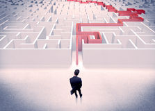 Maze solved for businessman concept Royalty Free Stock Images