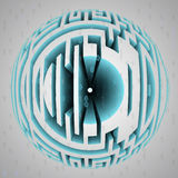 Maze sphere composition with binary code Royalty Free Stock Photo