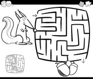 Maze with squirrel coloring page Royalty Free Stock Image