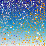 Maze of stars on blue. An illustrated view of a maze of golden and white stars on a blue background royalty free illustration