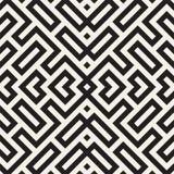 Maze Tangled Lines Contemporary Graphic Abstract geometrisch Ontwerp als achtergrond Vector naadloos patroon Stock Afbeelding