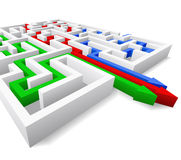 Maze and three arrows. Maze and colored arrows are shown in the image Royalty Free Stock Photos