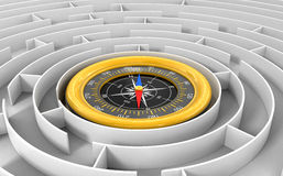 Maze to Compass Royalty Free Stock Photography