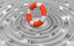 Maze to Lifebuoy Royalty Free Stock Photo