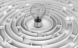 Maze to Light Bulb Royalty Free Stock Photos