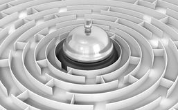Maze to Service bell Stock Photo