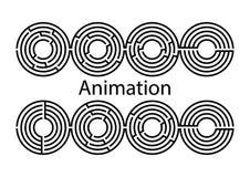 Maze Vector animeringuppsättning tangent lås Labyrint eps8 cirkel royaltyfri illustrationer