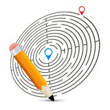 Maze Vector Illustration with Labels Royalty Free Stock Photo