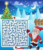 Maze 3 with walking Santa Claus. Eps10 vector illustration Stock Images