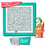 Maze  what is pictured donkey. Educational game for kids and adults development of logic, iq. Task game for children pass the maze and guess what is pictured Stock Photography