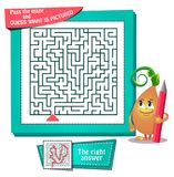 Maze  what is pictured. Educational game for kids and adults development of logic, iq. Task game for children pass the maze and guess what is pictured Stock Photography