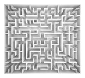 Maze  on white background, 3d rendering illustration Royalty Free Stock Photos