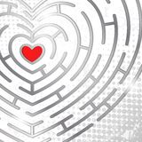Maze whits heart Royalty Free Stock Photo