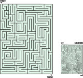 Maze1. A square maze with answer key Royalty Free Stock Photos