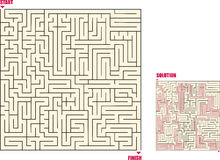 Maze1. A square maze with answer key Royalty Free Stock Images
