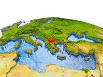 Mazedonien auf Modell von Erde Stockbilder