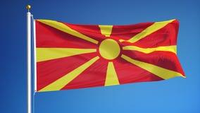 Mazedonien-Flagge in der Zeitlupe schlang nahtlos sich mit Alpha lizenzfreie abbildung