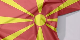 Mazedonien-Gewebeflaggenkrepp und -falte mit Leerraum lizenzfreies stockfoto