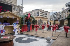 Mazedonien-Quadrat, Skopje stockfotos
