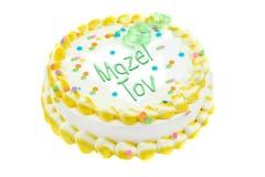 Mazel Tov cake. Congratulatory mazel tov festive cake with colorful icing stock photo