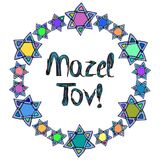 Mazel Tov inscription Hebrew translation I wish you happiness. In a round frame of the stars of David. Birthday card. Hand draw Royalty Free Stock Image
