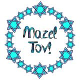 Mazel Tov inscription Hebrew translation I wish you happiness. In a round frame of the stars of David. Birthday card. Hand draw. Royalty Free Stock Photo