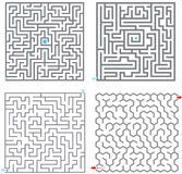 Mazes. Set of small labyrinth gray on white Royalty Free Stock Images