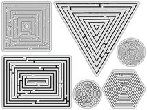 Mazes collection against white. Background, abstract vector art illustration Royalty Free Stock Image
